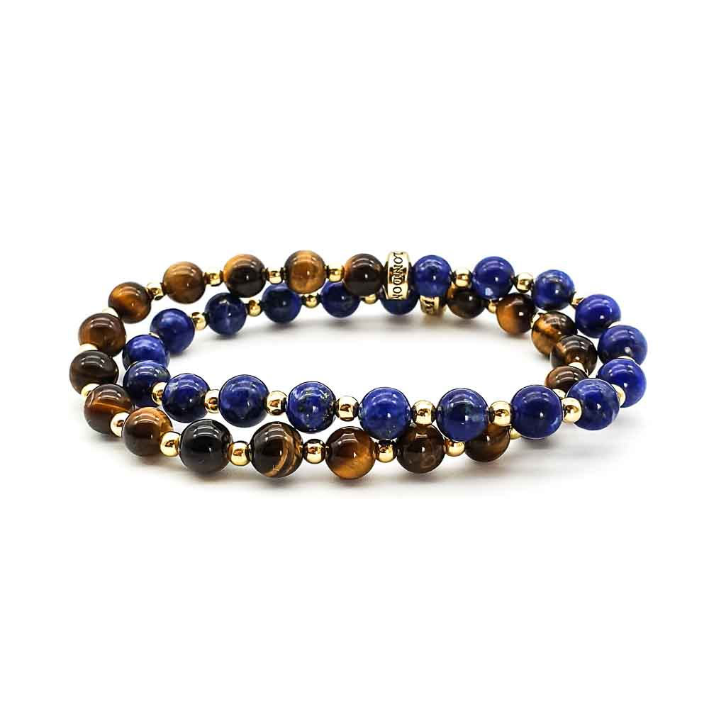 Double wrap bracelet, lapis bracelet, tigers eye bracelet, luxury beaded bracelet, designer bracelet, tigers eye and gold bracelet, lapis lazuli and gold bracelet, healing bracelet, necklace
