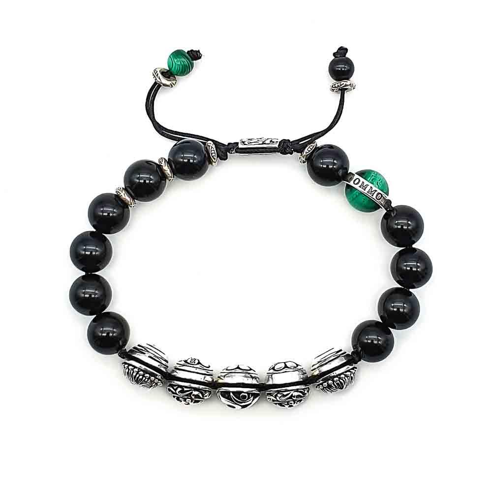 Onyx 'Om' Shamballa Bracelet, Onyx Om bracelet, Onyx and 925 sterling silver bracelet, beaded bracelet, macrame bracelet, shamballa bracelet, luxury designer bracelet, black beaded bracelet, luxury black braceet