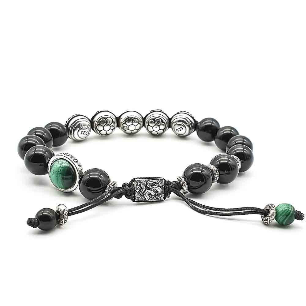 Onyx Om bracelet, Onyx and 925 sterling silver bracelet, beaded bracelet, macrame bracelet, shamballa bracelet, luxury designer bracelet, black beaded bracelet, luxury black braceet