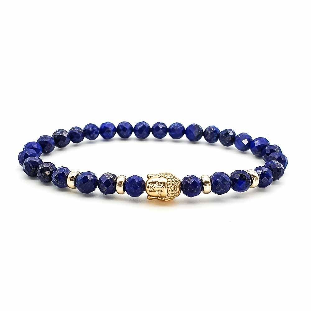 Gold & Lapis Lazuli Buddha Bracelet, Lapis Lazuli and 9ct gold buddha bracelet, faced lapis lazui bracelet, luxury beaded bracelet, blue bracelet, gold buddha bracelet, luxury buddha bracelet, buddha beaded bracelet, healing bracelet, spiritual bracelet