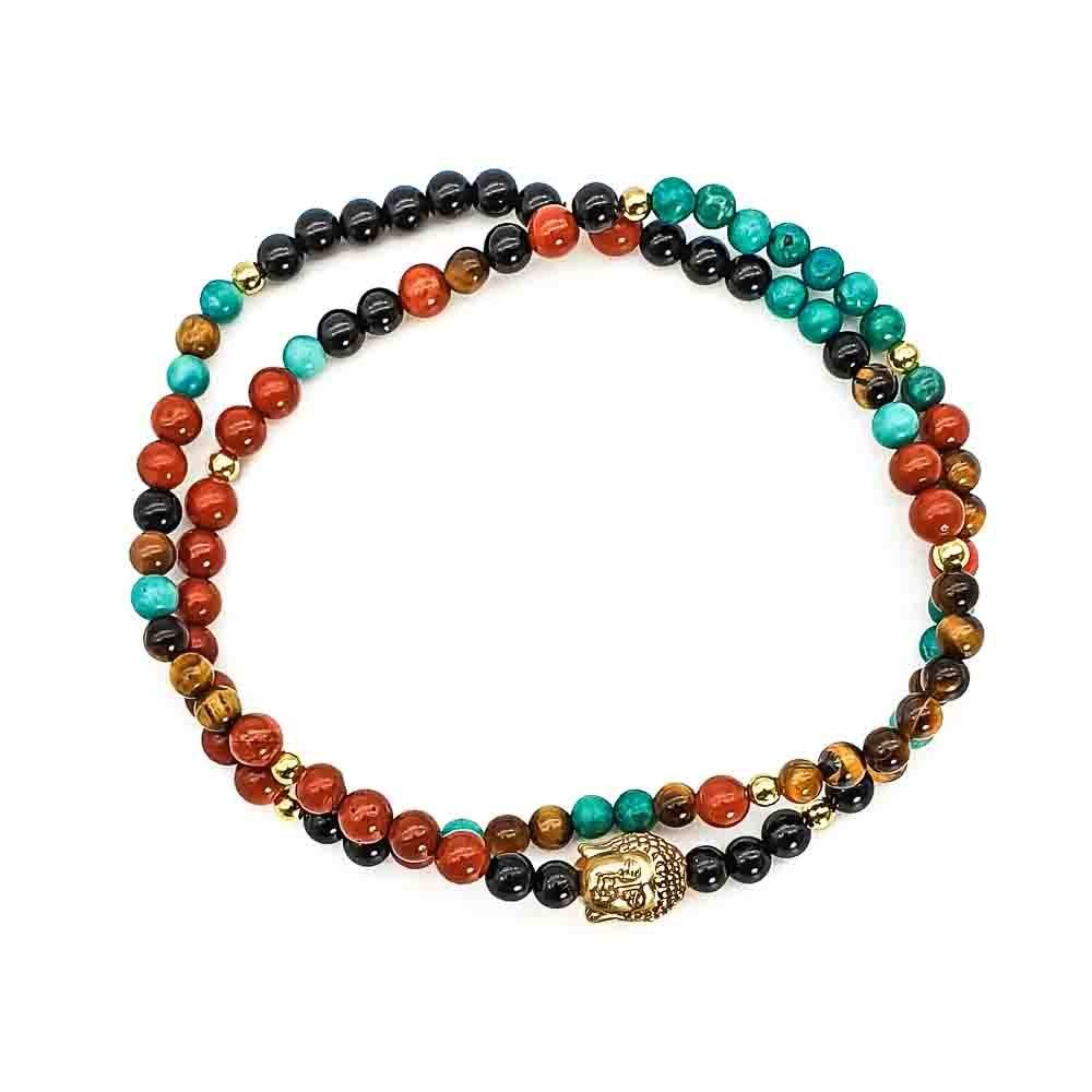 Double wrap bracelet, buddha bracelet, multi coloured bracelet, designer bracelet, luxury buddha bracelet, gold buddha bracelet, turquoise buddha bracelet, tigers eye buddha bracelet, red jasper buddha bracelet
