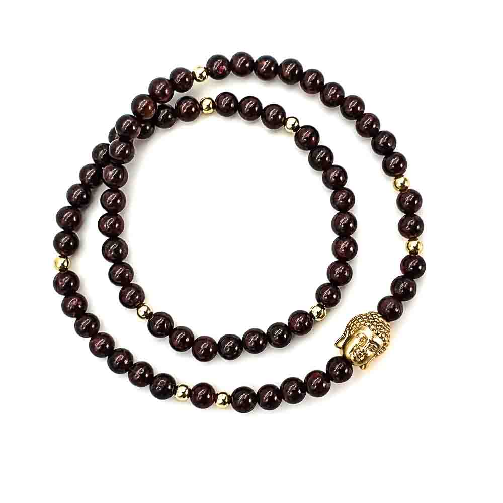 Gold and Garnet Buddha Bracelet , Garnet and 9ct gold bracelet, double wrap bracelet, garnet necklace, luxury bracelet for men or women, beaded bracelet with gold, crystal bracelet, healing bracelet, buddha bracelet, garnet and buddha bracelet, gold buddha bracelet