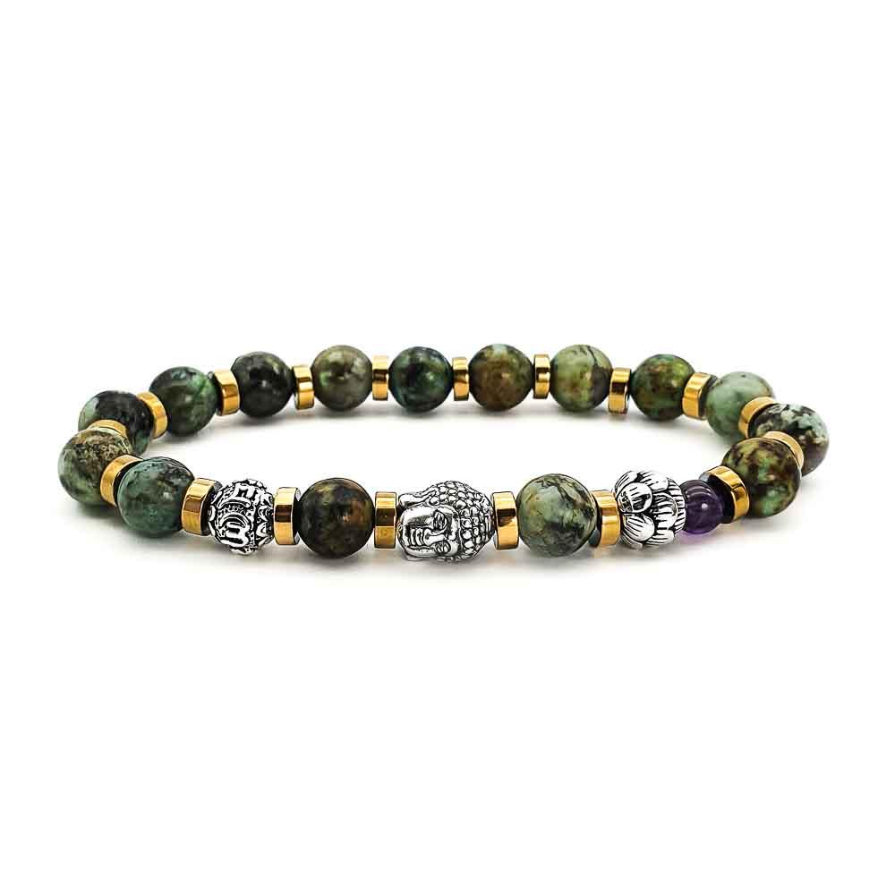 African Turquoise Buddha Bracelet, african tirquoise bracelet, buddha bracelet, 925 sterling silver bracelet with buddha head, beaded bracelet, mens designer bracelet