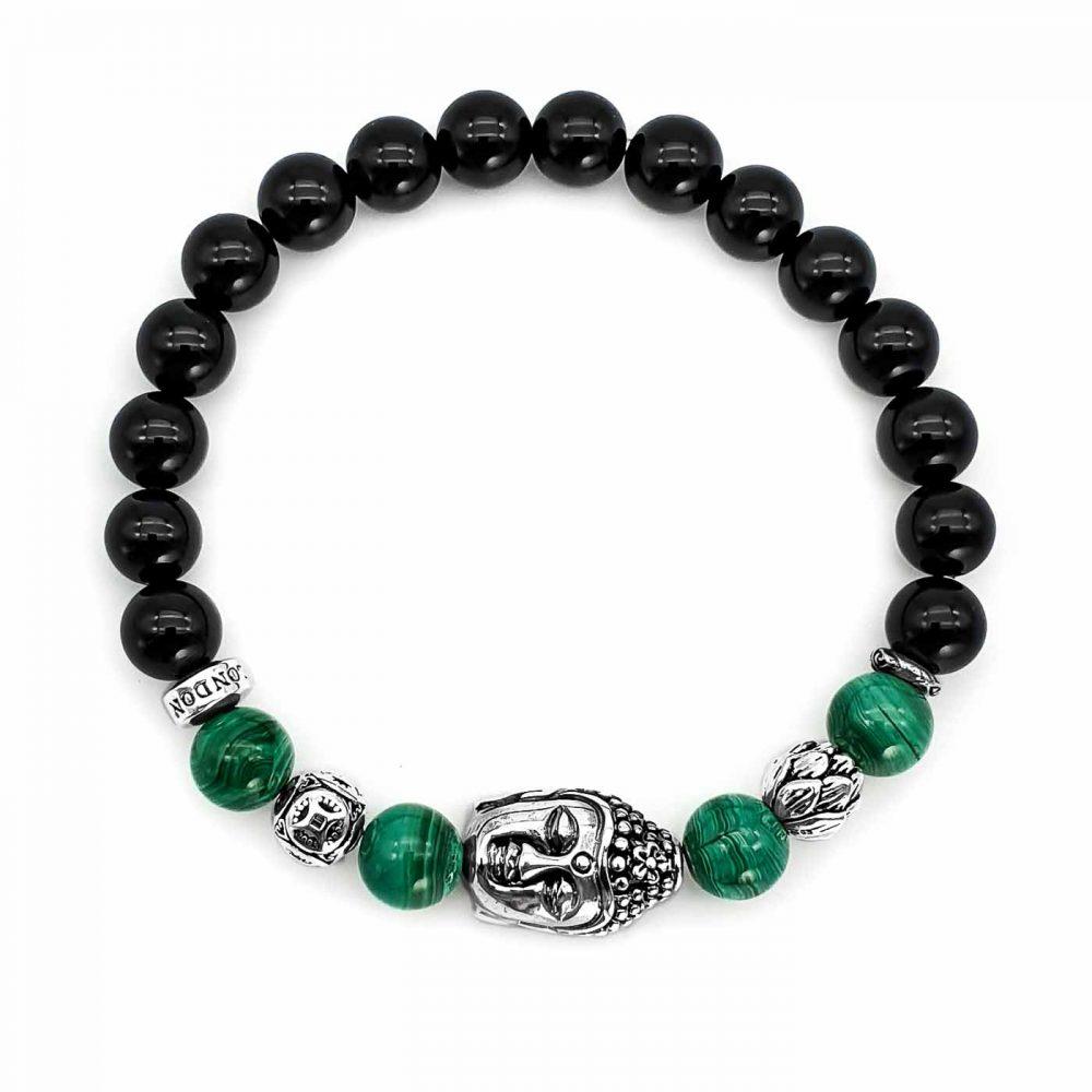 Onyx and Buddha Bracelet,black onyx buddha bracelet, 925 Sterling silver buddha bracelet, malachite buddha bracelet, silver lotus bracelet, spiritual jewellery, lotus bracelet, buddha bracelet necklace set, mens or womens bracelet uk