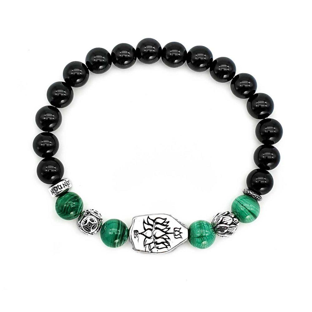 Onyx and Buddha Bracelet, black onyx buddha bracelet, 925 Sterling silver buddha bracelet, malachite buddha bracelet, silver lotus bracelet, spiritual jewellery, lotus bracelet, buddha bracelet necklace set, mens or womens bracelet uk