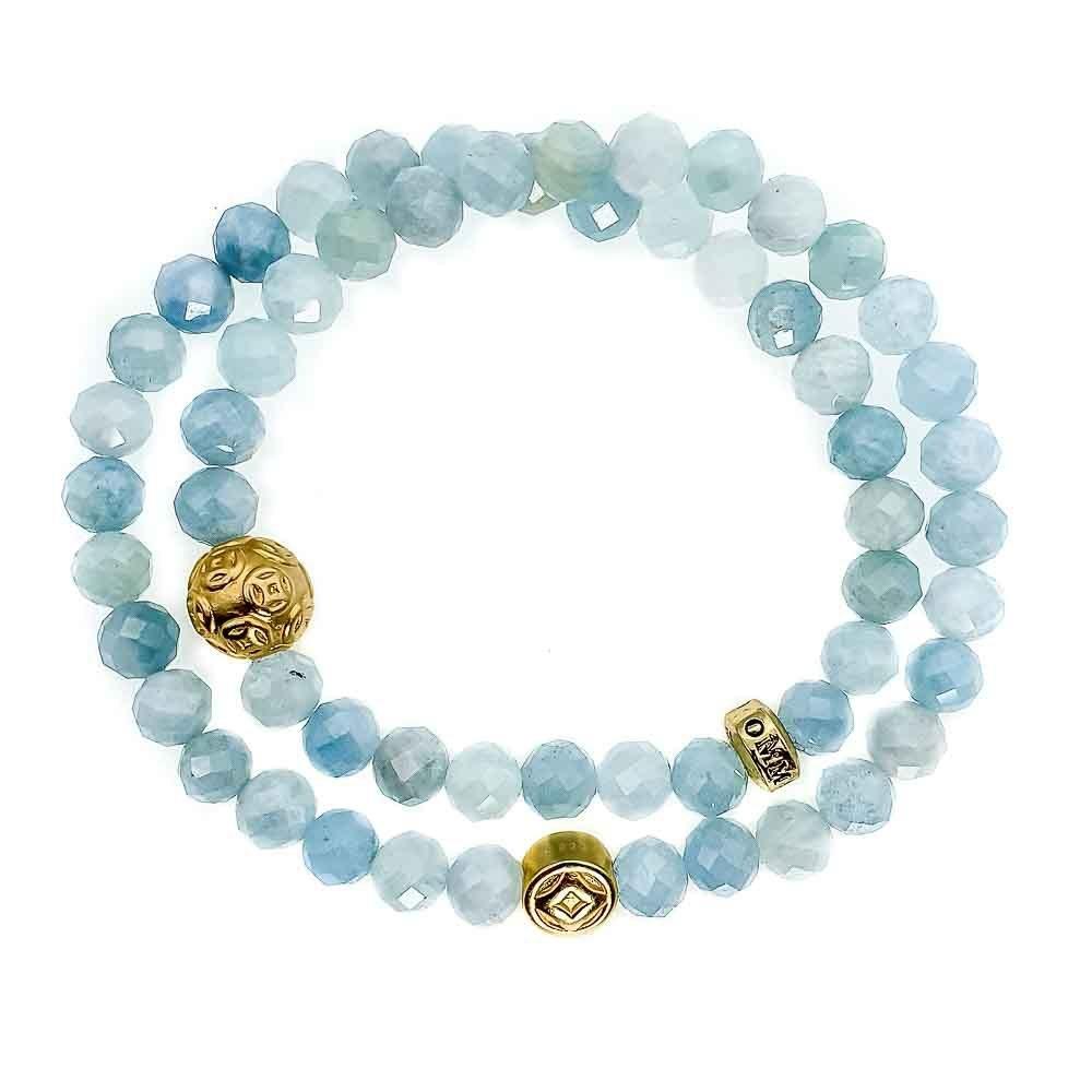 Aquamarine Double Wrap Bracelet, aquamarine bracelet, aquamarine and gold bracelet, spiritual bracelet, healing bracelet, designer jewellery for women, blue bracelet, beaded bracelet for women