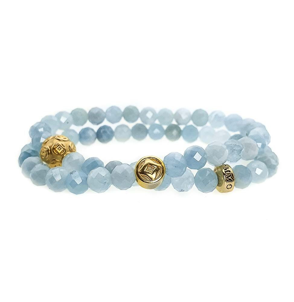 Aquamarine Double Wrap Bracelet, aquamarine bracelet, aquamarine and gold bracelet, spiritual bracelet, healing bracelet, designer jewellery for women, blue bracelet, beaded bracelet for women