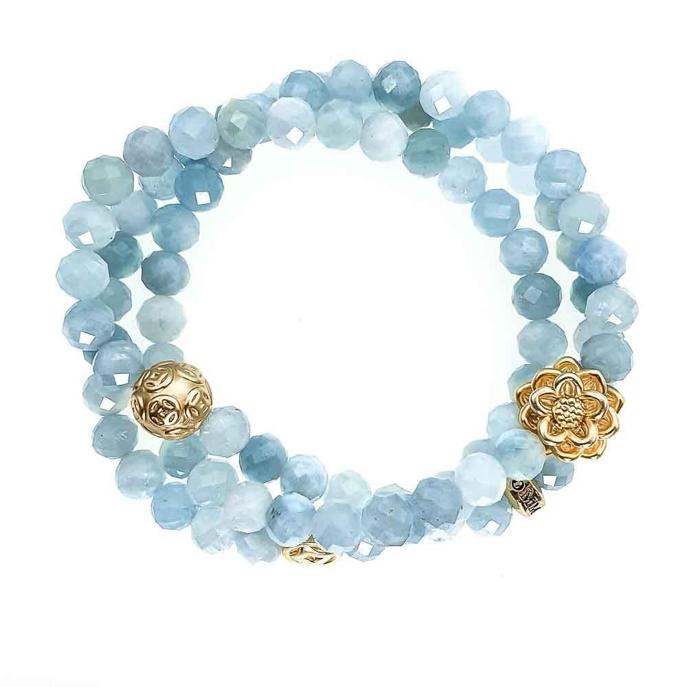 Aquamarine triple Wrap Bracelet, aquamarine bracelet, aquamarine and gold bracelet, spiritual bracelet, healing bracelet, designer jewellery for women, blue bracelet, beaded bracelet for women