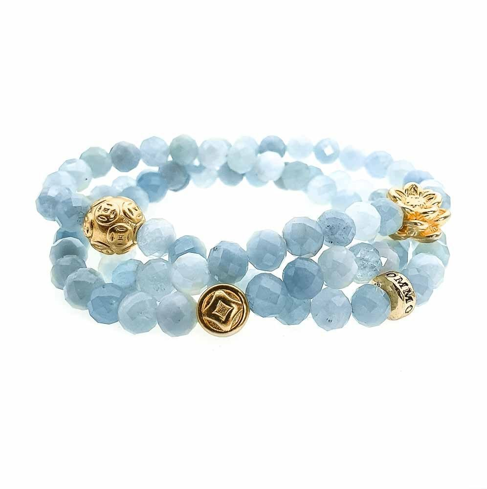 Aquamarine triple Wrap Bracelet, aquamarine bracelet, aquamarine and gold bracelet, spiritual bracelet, healing bracelet, designer jewellery for women, blue bracelet, beaded bracelet for women