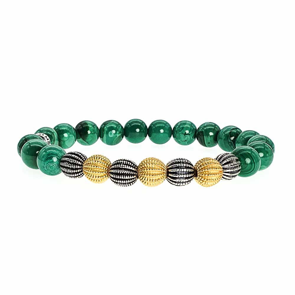 Silver and Gold Malachite Bracelet, malachite jewellery, gold and malachite bracelet, green bracelet, heart chakra bracelet, healing jewellery, luxury jewellery, semi-precious bracelet