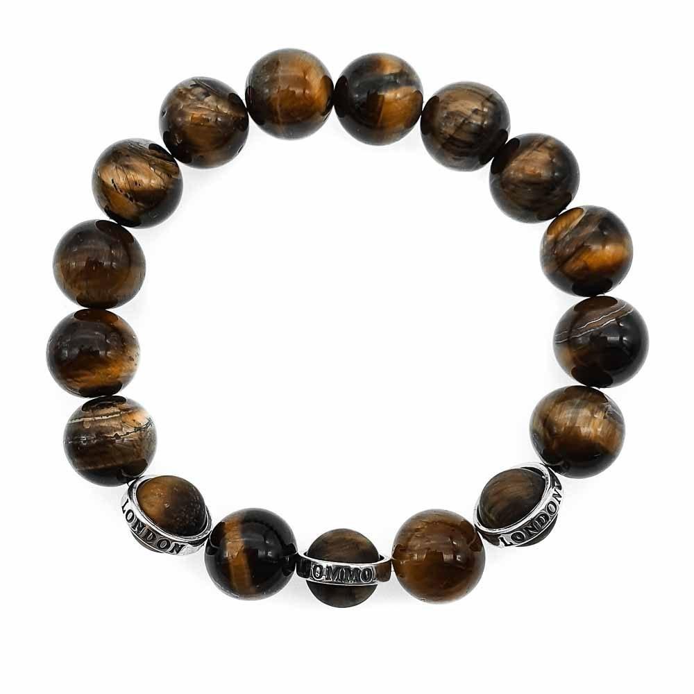 Tiger's Eye Beaded Bracelet, tigers eye and 925 silver bracelet, tigers eye beaded bracelet, rebel bracelet, brown bracelet, gemstone silver bracelet, chunky beaded bracelet