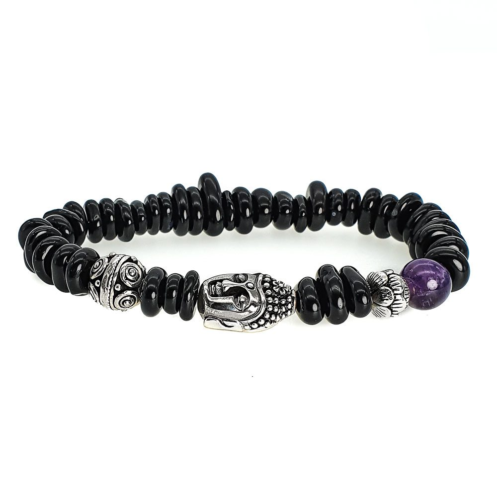 Pebble Onyx and Buddha Bracelet, onyx bracelet, silver buddha bracelet, spiritual bracelet, unique bracelet, gift for someone spiritual, buddhist bracelet, black beaded bracelet