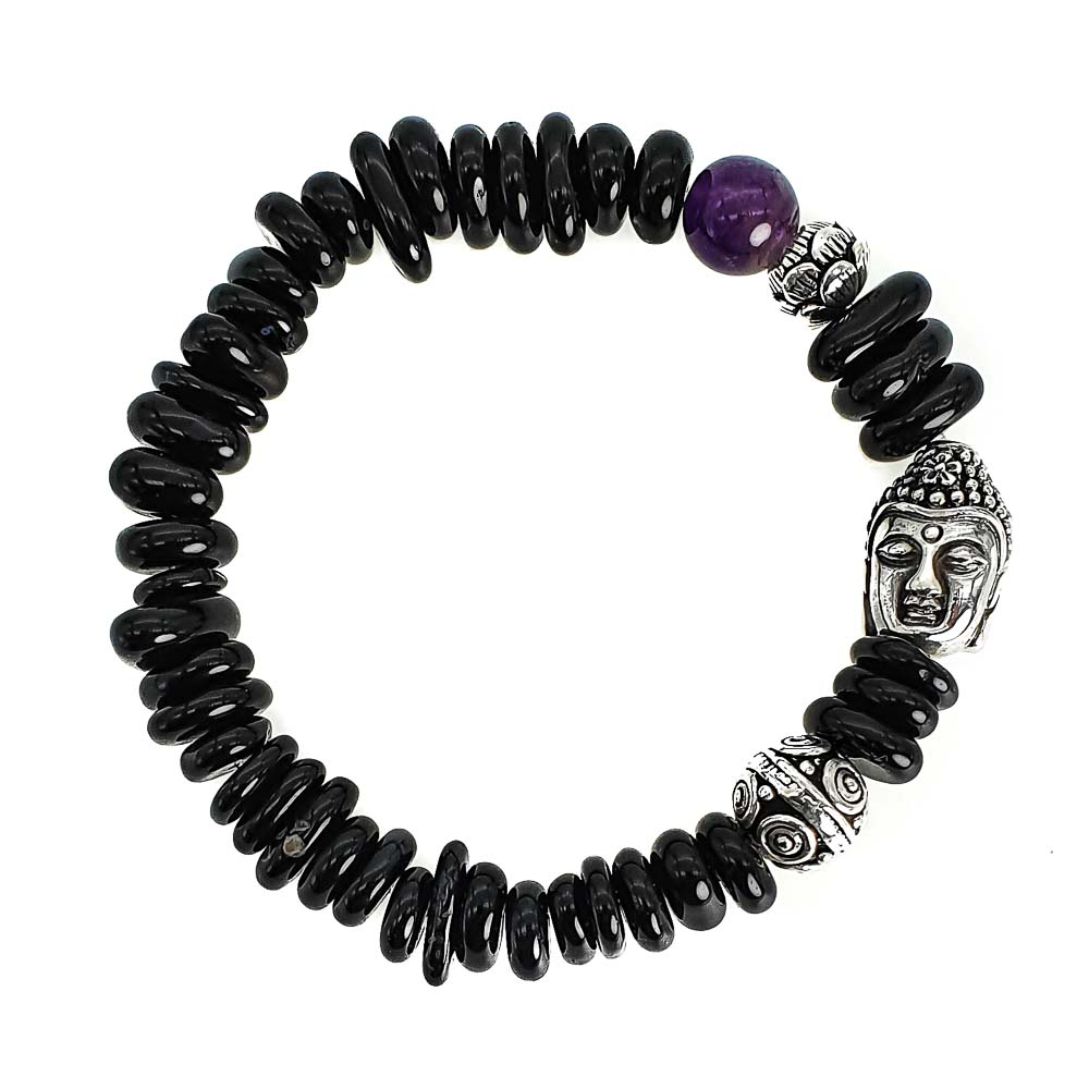 Pebble Onyx and Buddha Bracelet, onyx bracelet, silver buddha bracelet, spiritual bracelet, unique bracelet, gift for someone spiritual, buddhist bracelet, black beaded bracelet