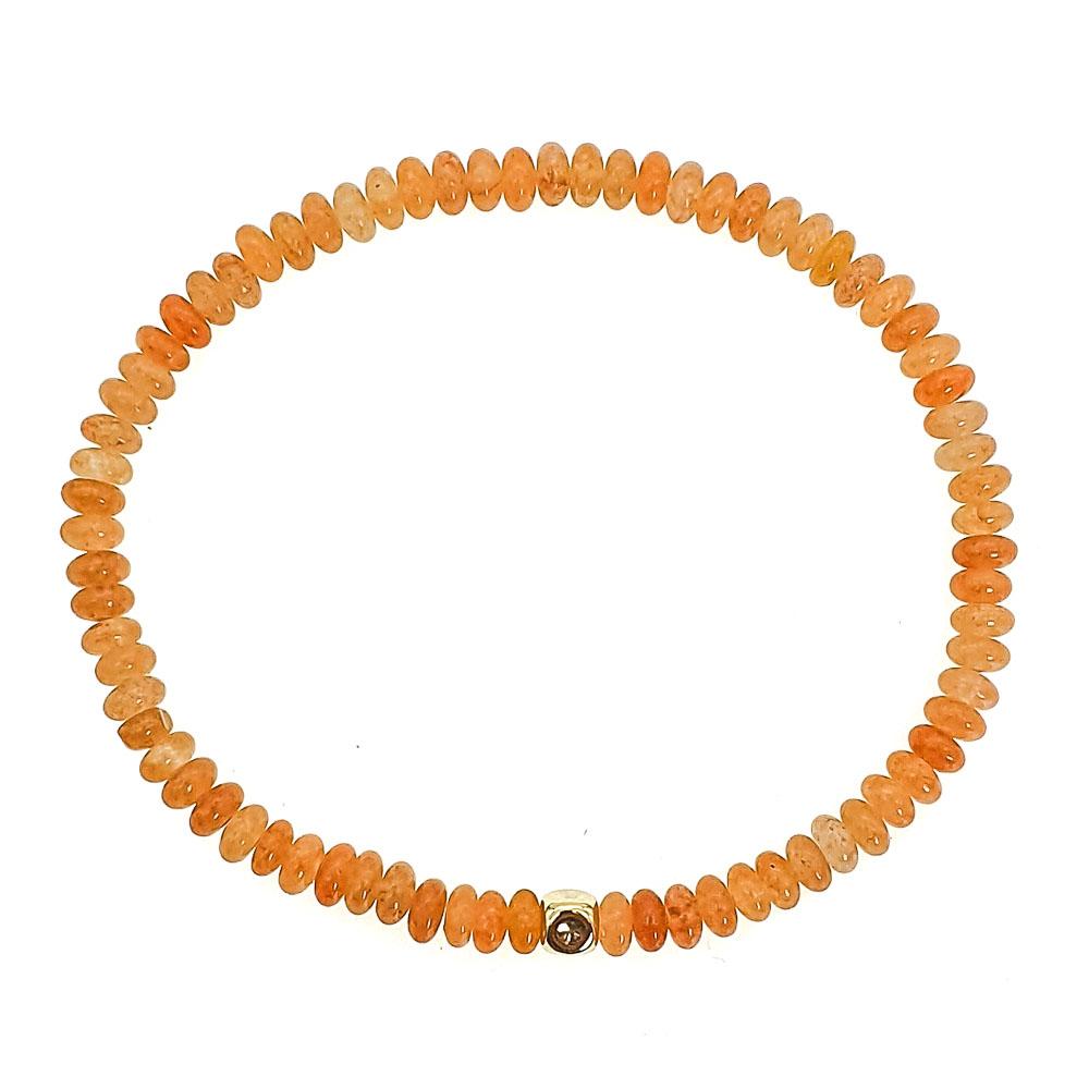 14k Gold and Yellow Aventurine Bracelet, elegant bracelet, minimalistic bracelet, orange gemstone bracelet, peach colour bracelet, elegant bracelet, crystal bracelet, semi-precious stone bracelet, present for her, gift for her