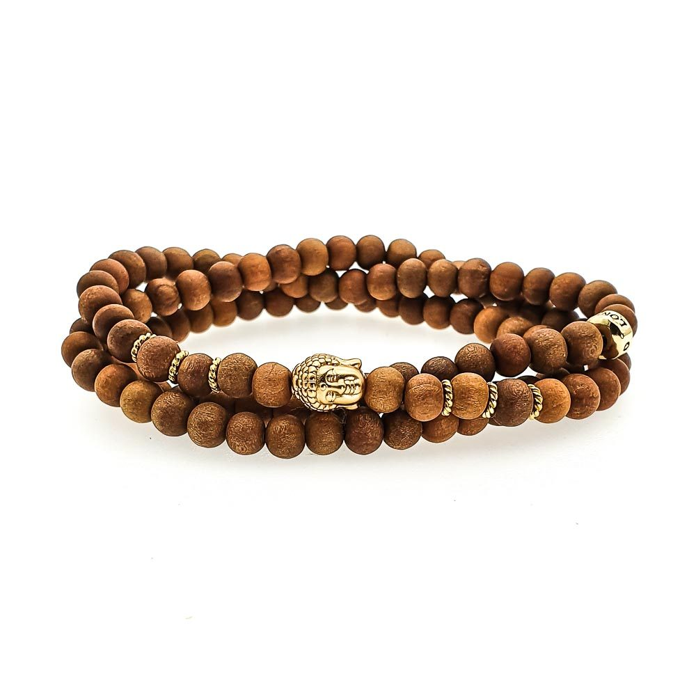 sandalwood bracelet, sandalwood buddha bracelet, double wrap sandalwood bracelet, luxury wood bracelet, wood beaded bracelet, wood bracelet with gold, gold buddha bracelet, healing bracelet, spiritual bracelet