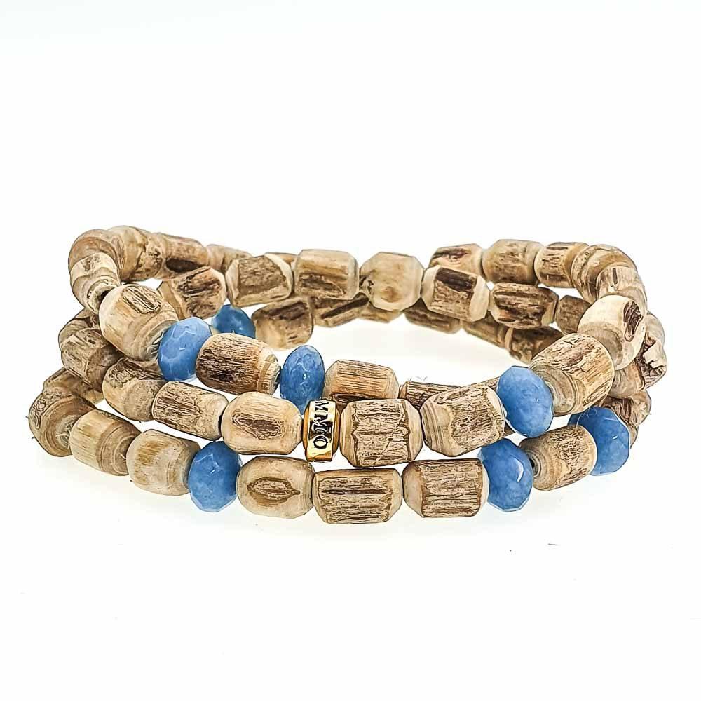 Aquamarine & Tulsi Wood Bracelet, Wood beaded bracelet, tulsi beaded bracelet, luxury tulsi bracelet, luxury wooden bracelet, designer bracelet for men, designer bracelet for women, spiritual jewellery, mala bracelet, tulsi mala
