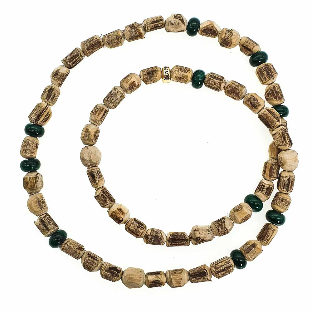 Malachite & Tulsi Wood Bracelet, tulsi beaded bracelet, wood bracelet, wrap wood bracelet, mala bracelet, mala necklace, luxury wood bracelet, designer wood bracelet, tulsi jewellery, tulsi mala