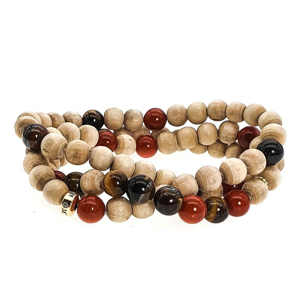 Round Tulsi Wood Bracelet, Wood and tigers eye bracelet, luxury wood bracelet, designer tulsi bracelet, mala bracelet, mala necklace