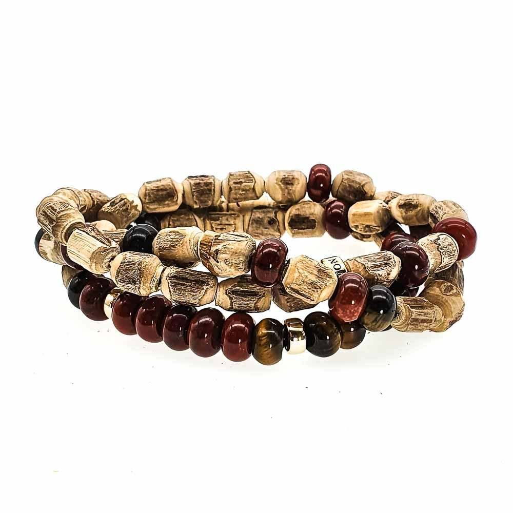 9ct Gold Tulsi Wood Bracelet, Red Jasper and Tigers Eye bracelet, wood bracelet with 9ct Gold, Bracelet for men, triple wrap bracelet, mala bracelet, tulsi necklace, luxury bracelet for men or women