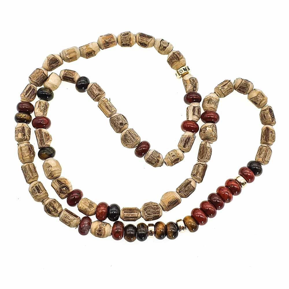 9ct Gold Tulsi Wood Bracelet, Red Jasper and Tigers Eye bracelet, wood bracelet with 9ct Gold, Bracelet for men, triple wrap bracelet, mala bracelet, tulsi necklace, luxury bracelet for men or women