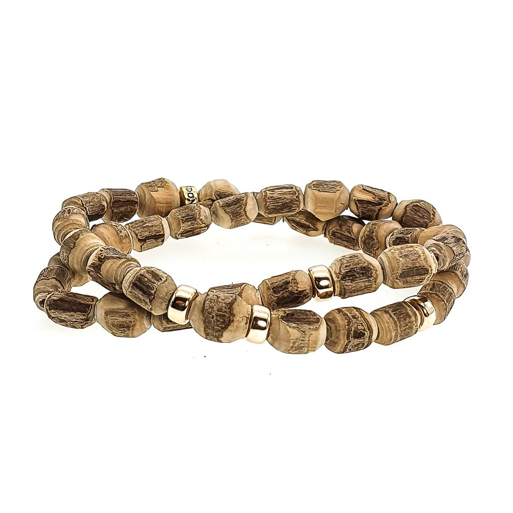 9ct Gold & Tulsi Wood Bracelet, luxury wood bracelet, tulsi and 9ct gold bracelet, 9ct gold wood bracelet, mala bracelet with 9ct gold, luxury mala, beaded bracelet for men, beaded bracelet for women, spiritual bracelet, healing bracelet