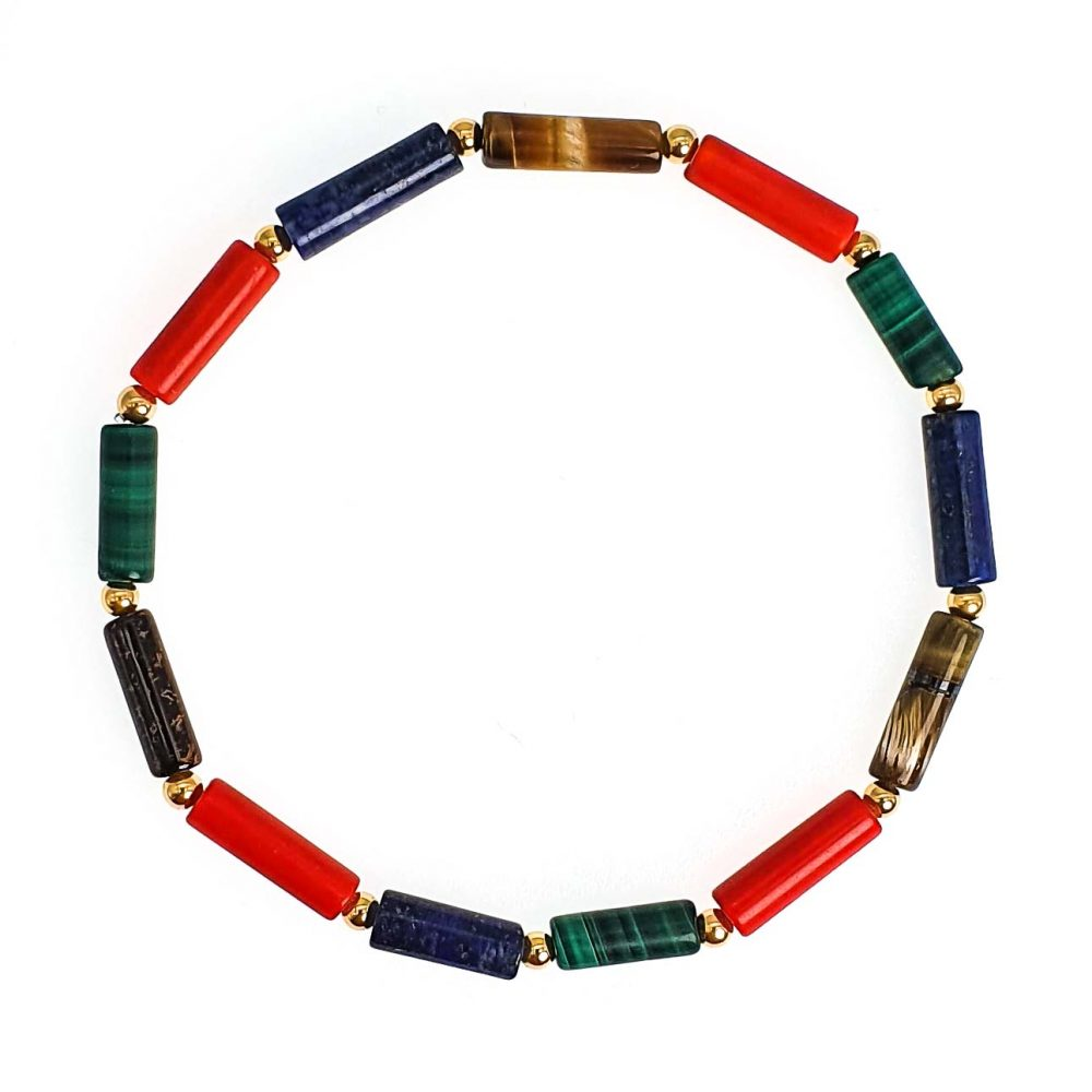 Mixed Gemstone 'Tube' Bracelet with 9ct Gold, tigers eye bracelet, malachite bracelet, lapis lazuli bracelet, 9ct gold bracelet, luxury bracelet, designer bracelet
