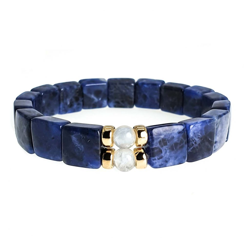 Dumortierite & 9ct Gold Bracelet, square bead bracelet, stretch bracelet, blue stretch bracelet, luxury bracelet for him, unique bracelet for men or women, bracelet with gold