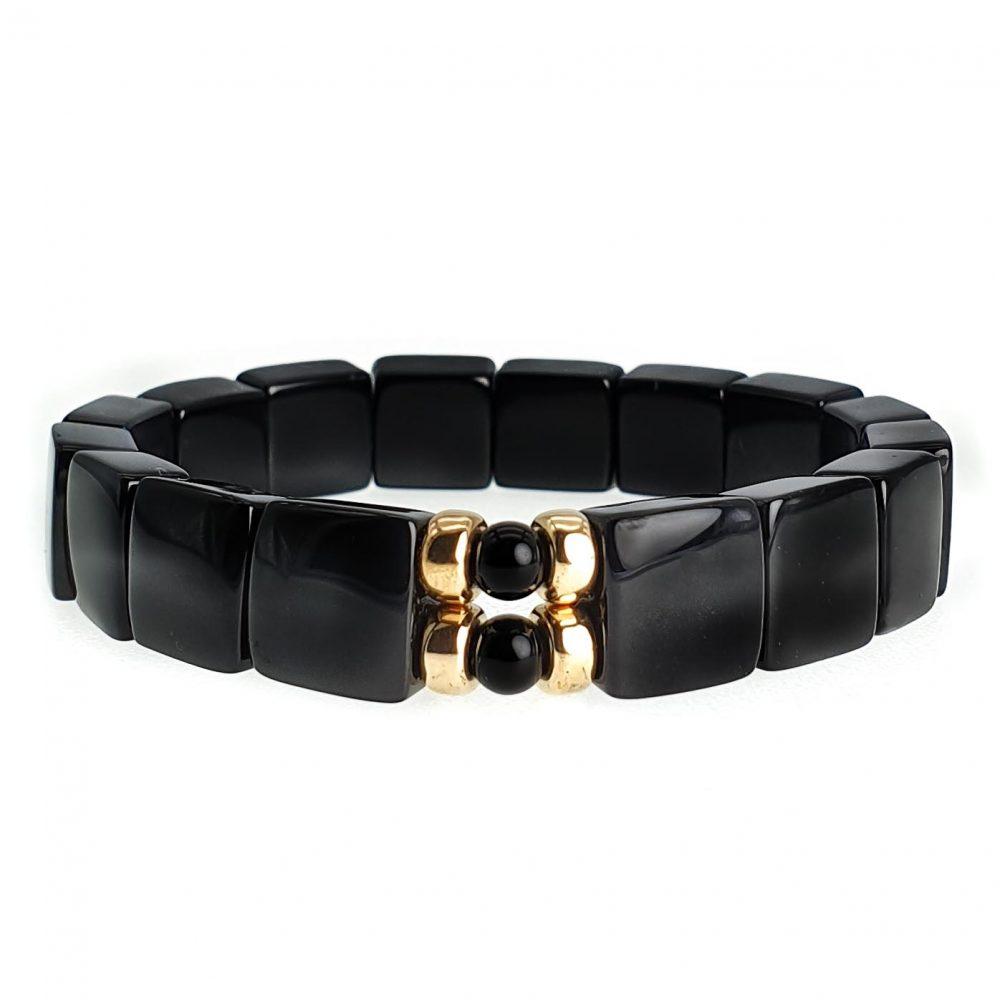 Onyx & 9ct Gold Bracelet , black onyx bracelet, mens black onyx bracelet, black onyx stretch bracelet, flat bead bracelet, square bead bracelet