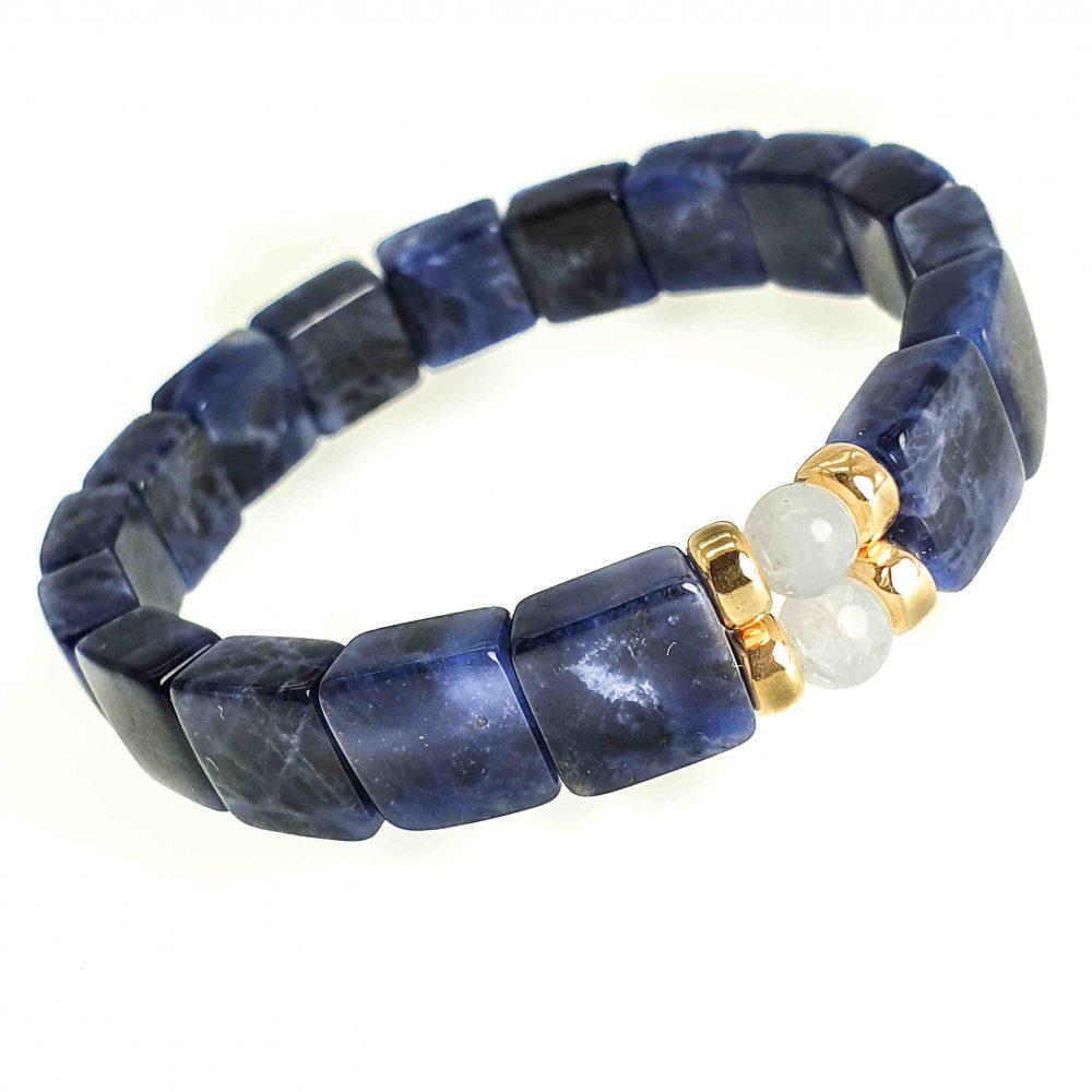 Dumortierite & 9ct Gold Bracelet, square bead bracelet, stretch bracelet, blue stretch bracelet, luxury bracelet for him, unique bracelet for men or women, bracelet with gold