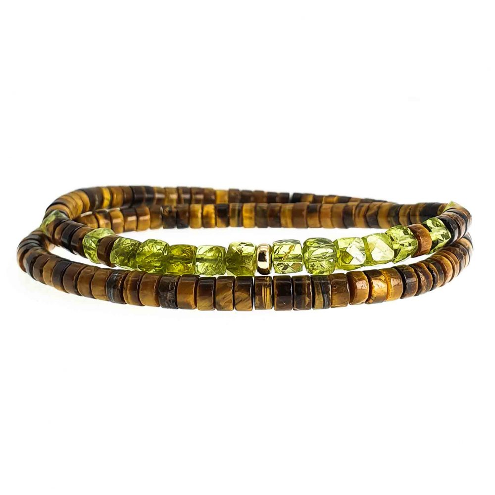 Tiger's Eye heishi bracelet, peridot bracelet, 18k gold braceletouble wrap bracelet, jade bracelet, tigers eye with gold bracelet,