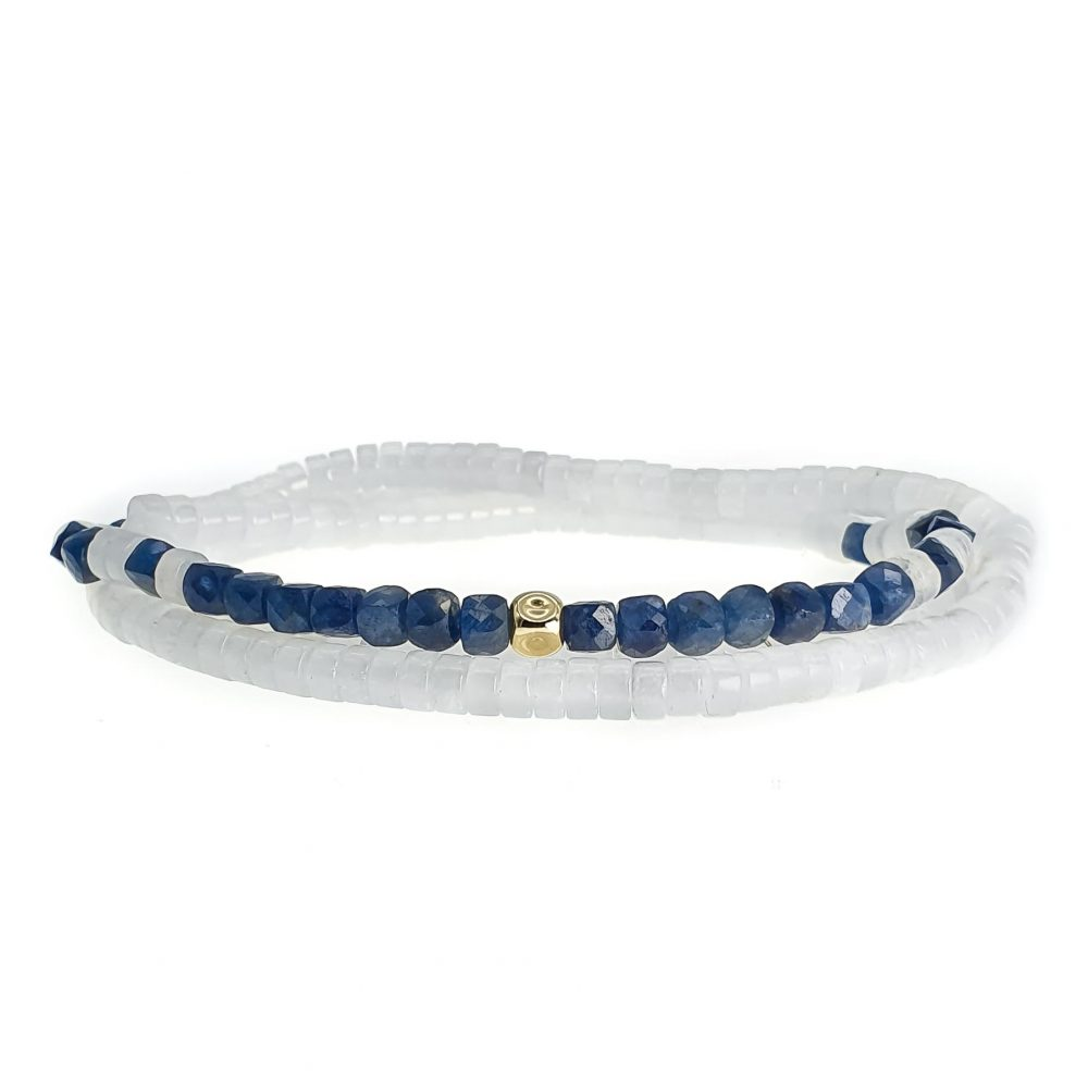 Sapphire and Jade Bracelet with 14k Gold , sapphire bracelet, sapphire jewellery, double wrap bracelet, elegant bracelet