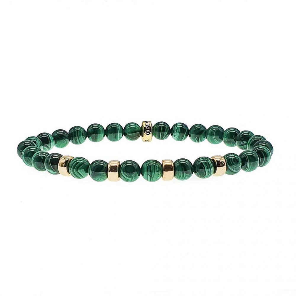 9ct Gold & Malachite Bracelet, malachite beaded bracelet, mens bracelet, womens bracelet, gemstone bracelet, green bracelet, luxury bracelet, designer bracelet for men or women