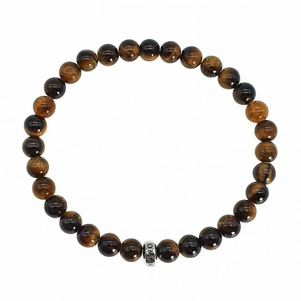 Tiger's Eye 'Simplicity' Bead Bracelet , tigers eye mens bracelet, beaded bracelet with 925 sterling silver, protection bracelet, mens designer bracelet, womens bracelet
