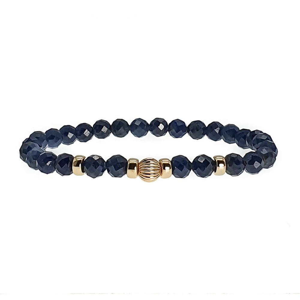 9ct Gold and Sapphire Bracelet, sapphire beaded bracelet, gemstone bracelet with 9ct gold, luxury healing bracelet, sapphire jewellery, blue bracelet with gold