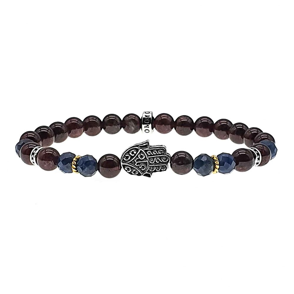 Protective Hand Bracelet, Hamsa Hand Bracelet, Hand of Fatima Bracelet, gemstone bracelet, garnet bracelet, sapphire beaded bracelet, 925 sterling silver bracelet for men or women