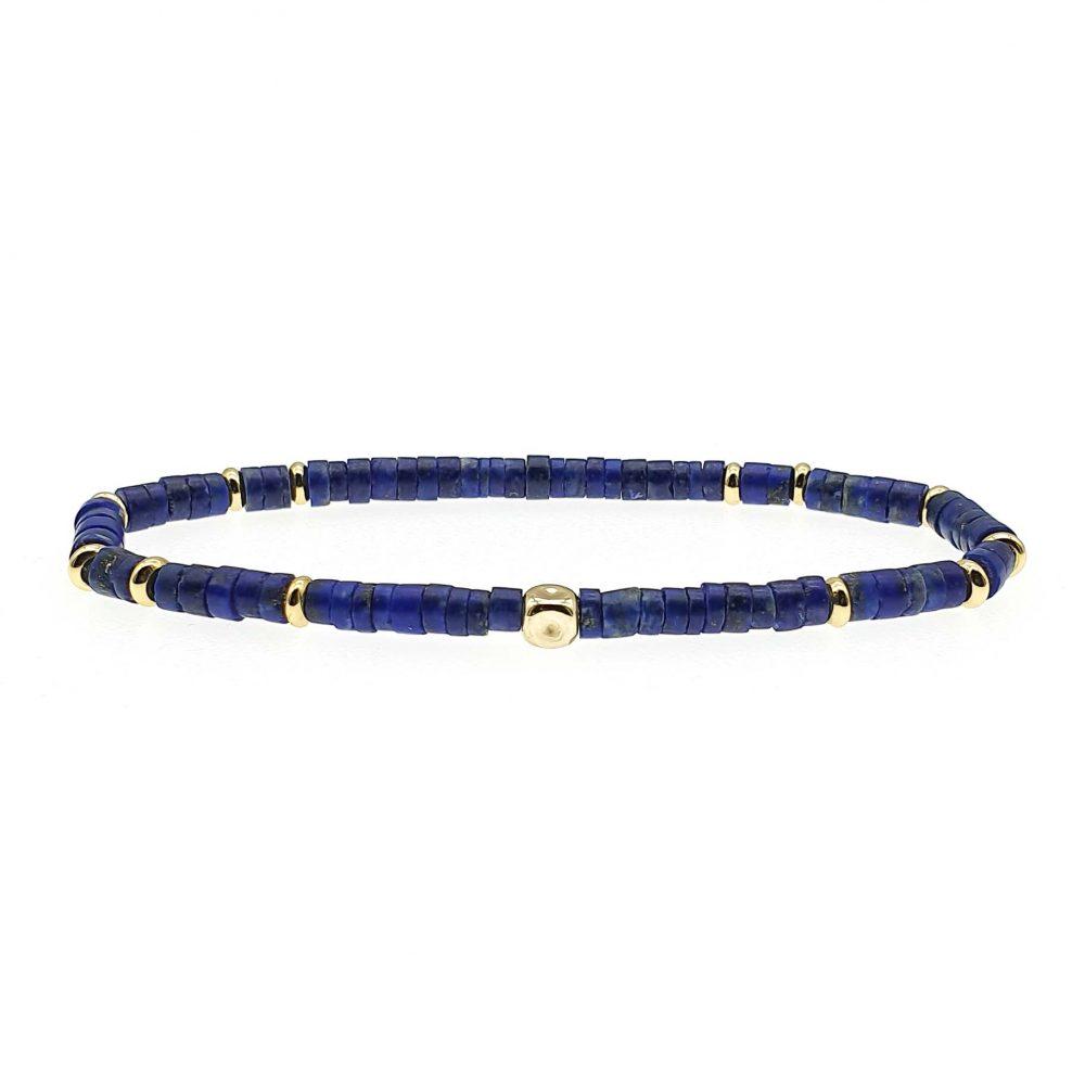 14k Gold and Lapis Lazuli Heishi Bracelet, Luxury lapis lazuli bracelet, heishi bracelet, blue bracelet, mens designer bracelet, tribal bracelet, lapis lazuli jewellery
