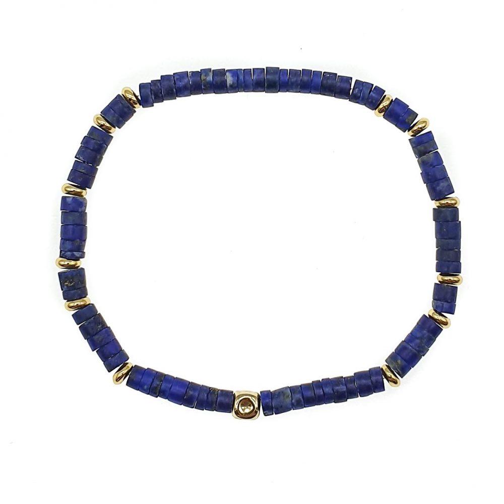 14k Gold and Lapis Lazuli Heishi Bracelet, Luxury lapis lazuli bracelet, heishi bracelet, blue bracelet, mens designer bracelet, tribal bracelet