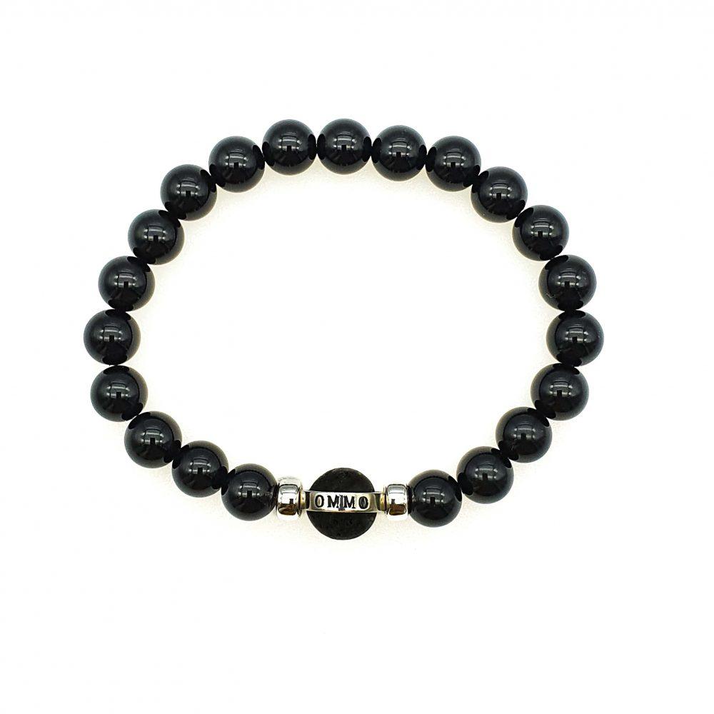 Onyx and Silver Bracelet, beaded Bracelet, black onyx bracelet, mens designer bracelet, stone bracelet for men, black bracelet for men, onyx and silver bracelet