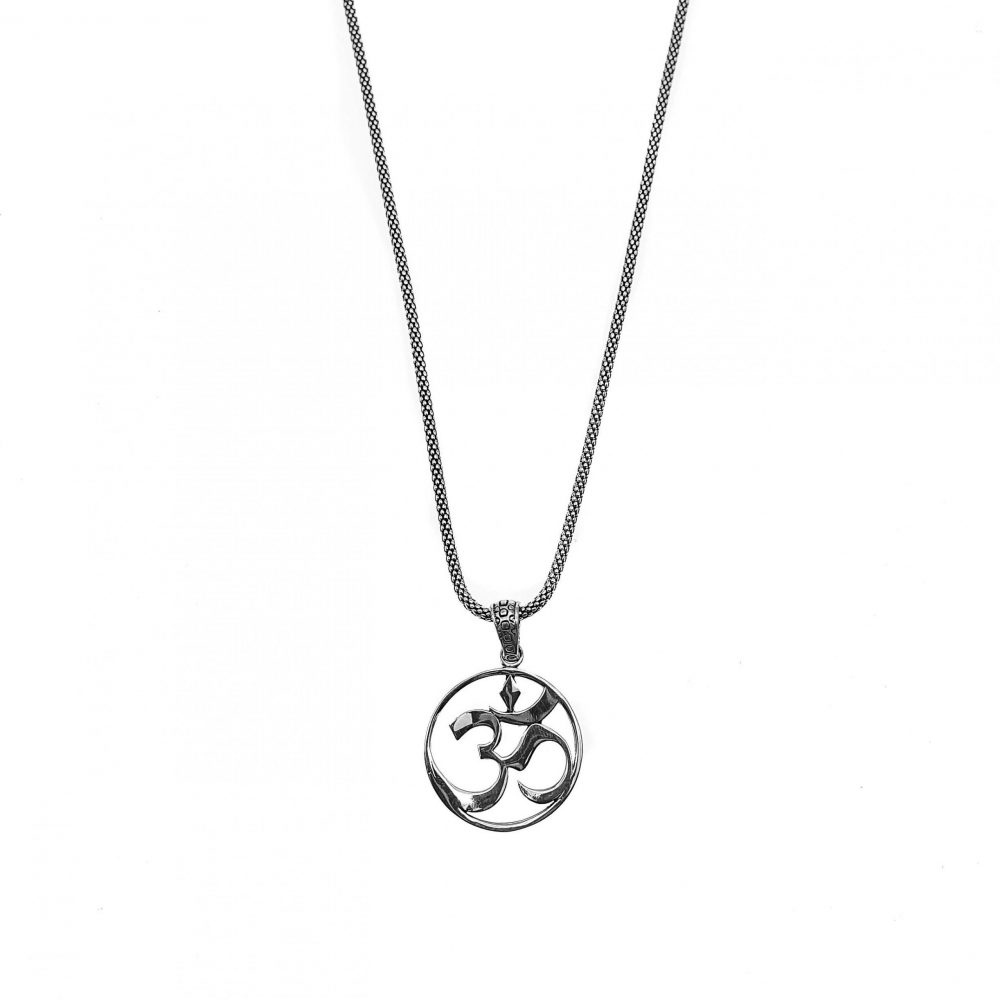 Om Necklace, sterling silver om necklace, om necklace for men, om necklace for women, sterling silver jewellery, spiritual jewellery