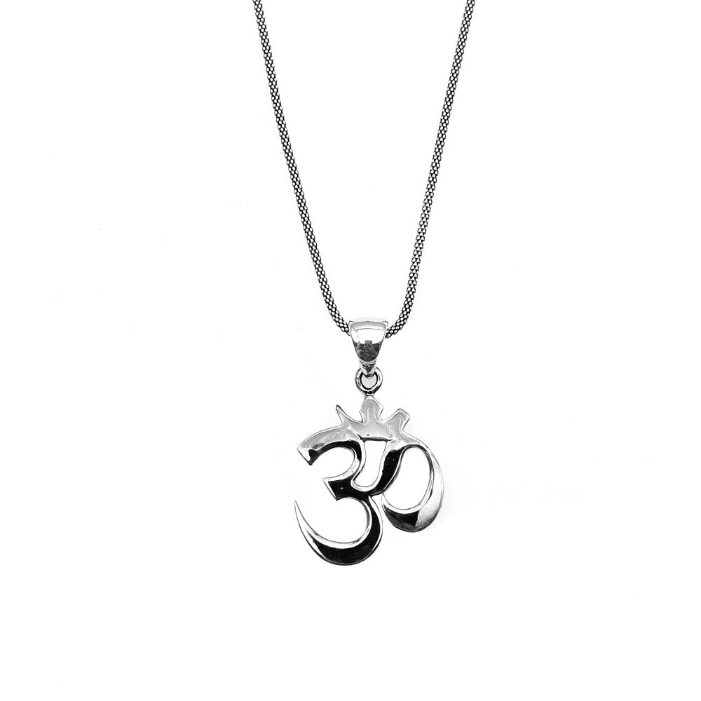 om silver necklace, ohm silver necklace, om pendant, sterling silver om pendant, spiritual necklace, buddhist necklace, hindy necklace, yogi necklace