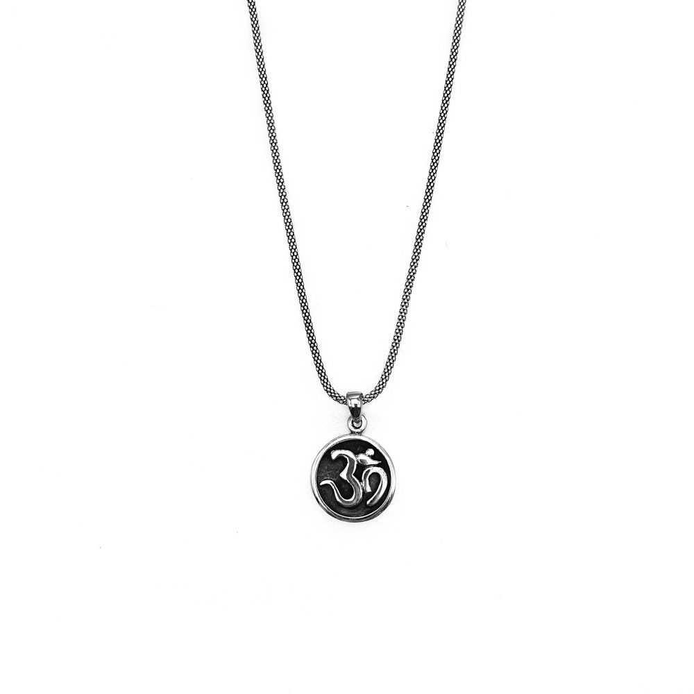 om pendant necklace, sterling silver om necklace, mens om necklace, womens om necklace, round om necklace om jewellery, buddhist necklace
