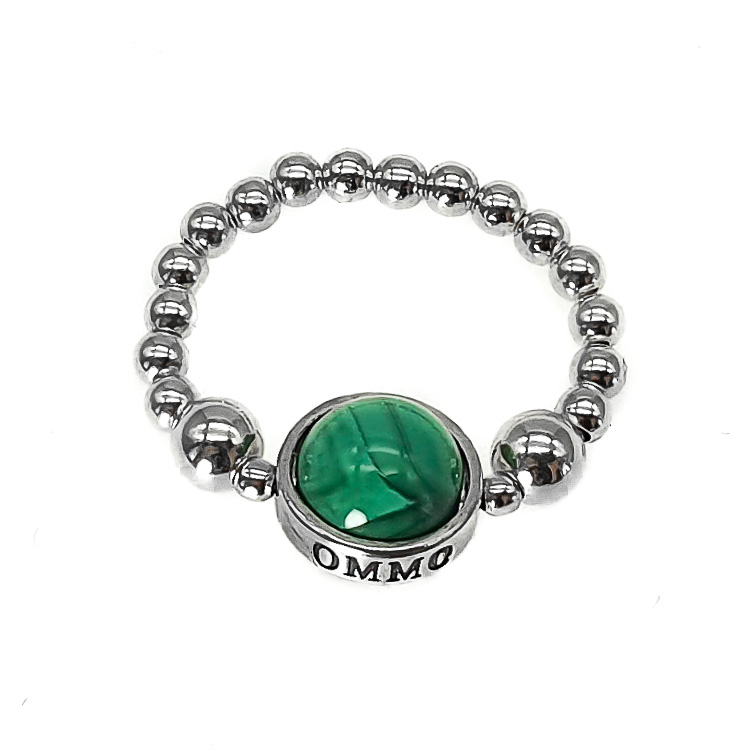 sterling silver beaded ring, malachite ring, malachite and silver ring, stretch ring, malachite jewellery