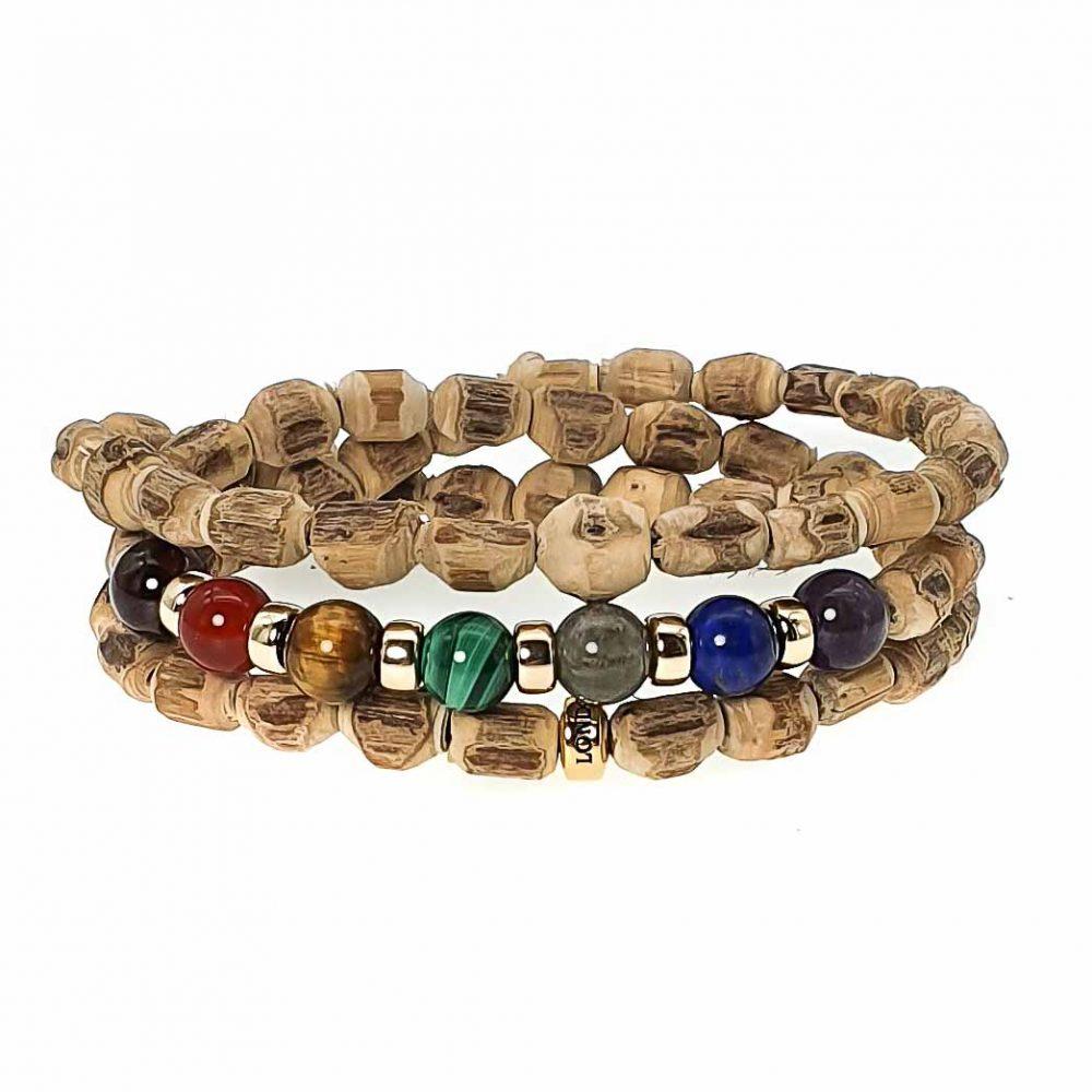Tusi wood chakra bracelet, chakra bracelet with 9ct gold, chakra balancing bracelet, luxury chakra bracelet, healing bracelet, spiritual bracelet, buddhist bracelet