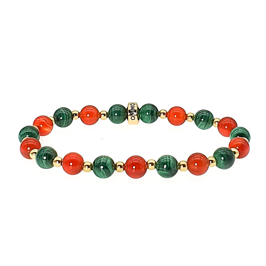 Carnelian and Malachite bracelet, luxury bracelet for women, green and red bracelet, healing bracelet, crystal bracelet, gemstone bracelet, balancing bracelet
