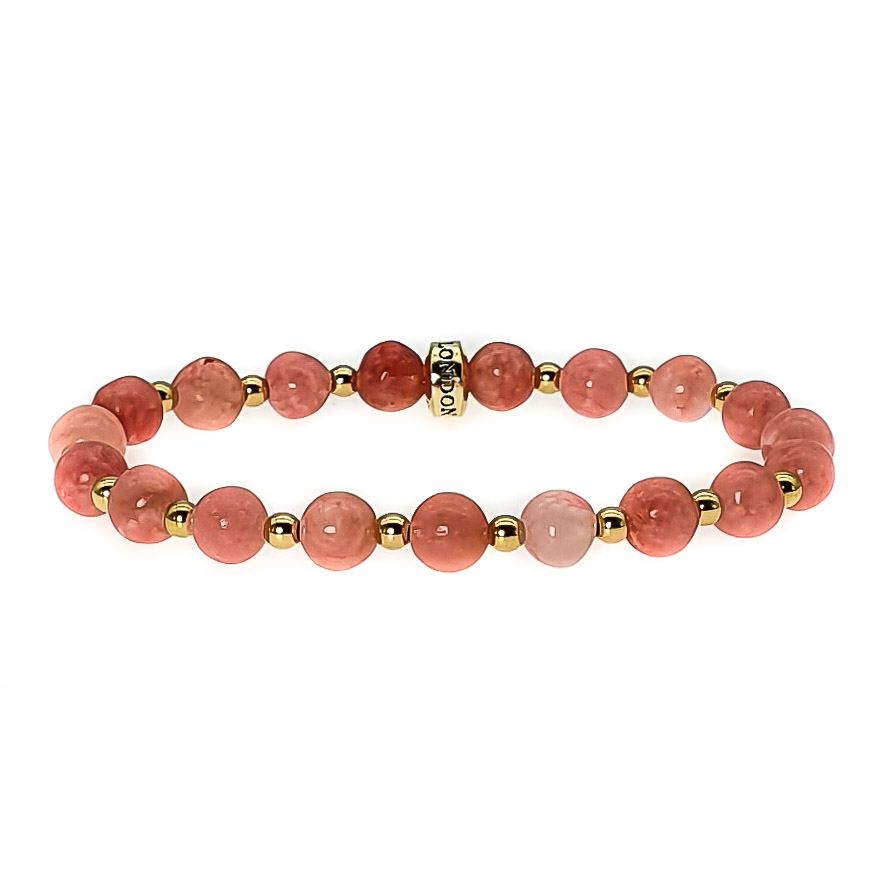Rhodochrosite Bracelet, Rhodochrosite and gold Bracelet, pink bracelet, gemstone bracelet, crystal bracelet, healing bracelet