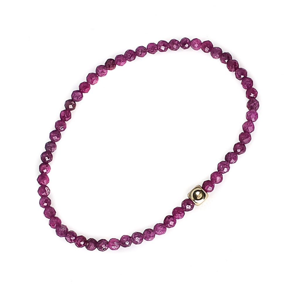 14k Gold and Ruby Bracelet, ruby stretch bracelet, ruby jewellery, bracelet for women, ommo london bracelet, 14k gold bracelet