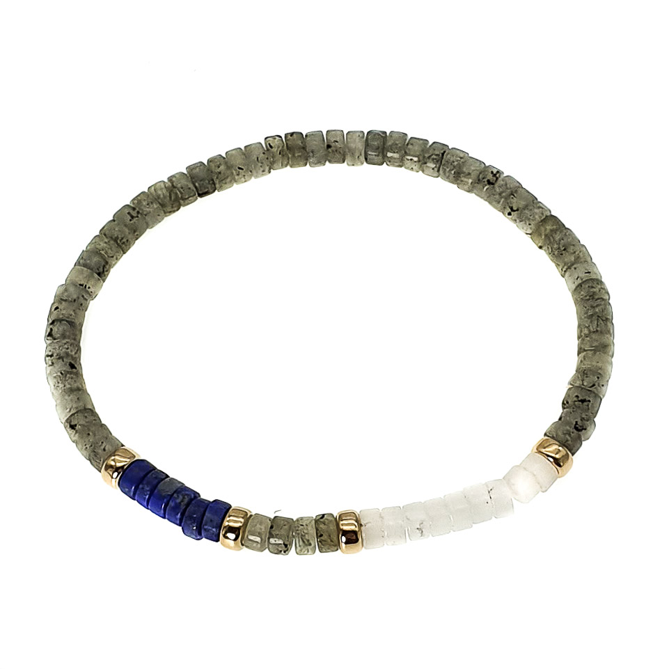 Labradorite and 9ct Gold Heishi Bracelet, heishi bracelet, luxury bracelet for men, designer bracelet for men, mix gemstone bracelet with 9ct gold, crystal bracelet, trendy bracelet, present for him