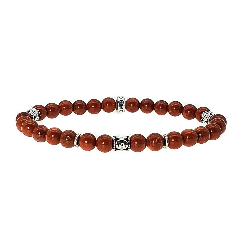 Red Jasper and Silver Bracelet, luxury bracelet for men, designer bracelet for men, tribal bracelet with silver, red bracelet, stone bracelet