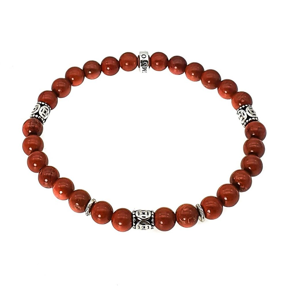 Red Jasper and Silver Bracelet, luxury bracelet for men, designer bracelet for men, tribal bracelet with silver, red bracelet, stone bracelet, beaded bracelet