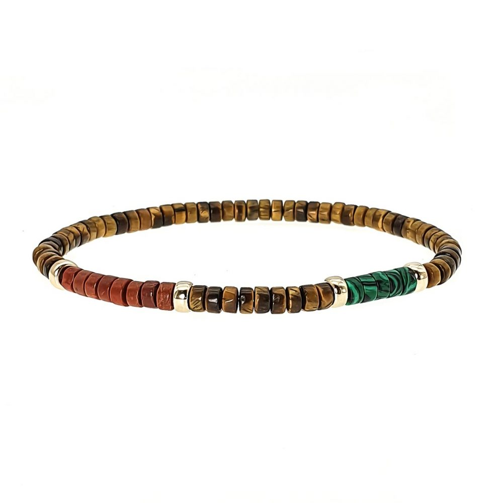 heishi bracelet with 9ct gold, tigers eye heishi bracelet, red jasper heishi bracelet, malachite heishi bracelet, mixed stone beaded bracelet, designer stretch bracelet, designer bracelet for men